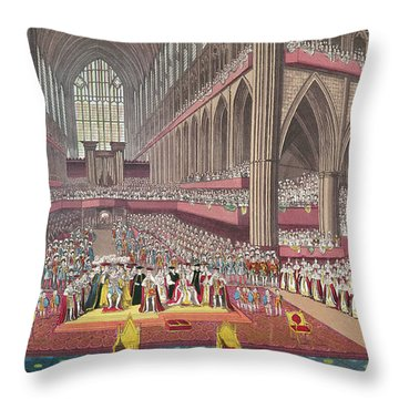 The Coronation Of King William Iv And Queen Adelaide, 1831 Colour Litho Throw Pillow by English School
