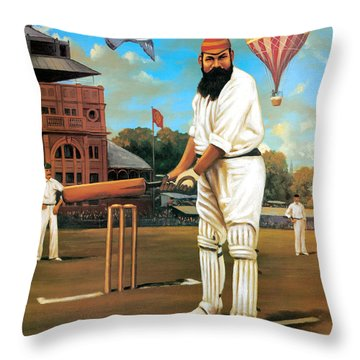 The Cricketers Throw Pillow by Peter Green