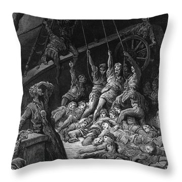 The Dead Sailors Rise Up And Start To Work The Ropes Of The Ship So That It Begins To Move Throw Pillow by Gustave Dore