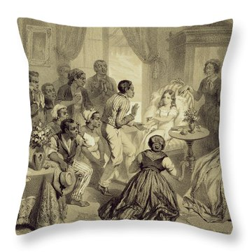 The Death Of Evangeline, Plate 6 Throw Pillow by Adolphe Jean-Baptiste Bayot