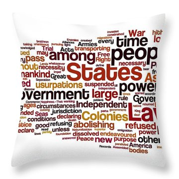 The Declaration Of Independence Throw Pillow by Florian Rodarte