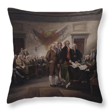 The Declaration Of Independence, July 4, 1776 Throw Pillow by John Trumbull