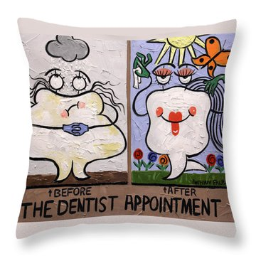 The Dentist Appointment Dental Art By Anthony Falbo Throw Pillow by Anthony Falbo
