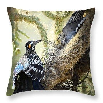 The Dove Vs. The Roadrunner Throw Pillow by Saija  Lehtonen
