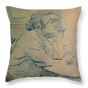 The Drinker Or An Hangover Throw Pillow by Henri de Toulouse-lautrec