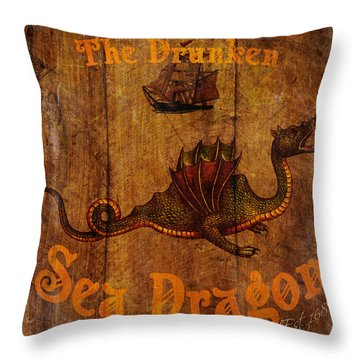 The Drunken Sea Dragon Pub Sign Throw Pillow by Cinema Photography