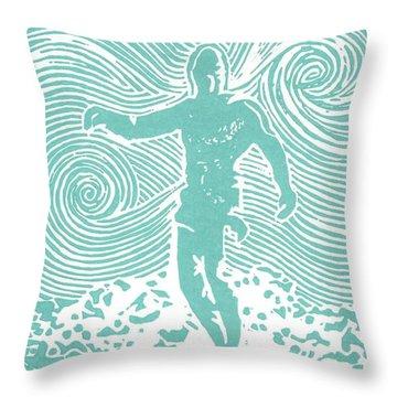 The Duke In Aqua Throw Pillow by Stephanie Troxell