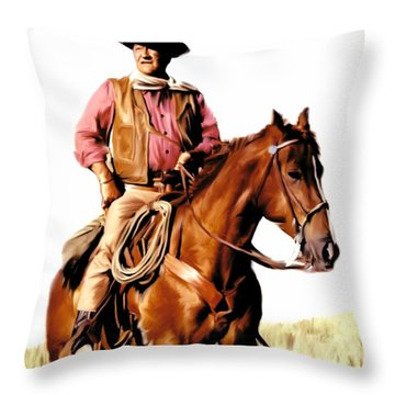 The Duke  John Wayne Throw Pillow by Iconic Images Art Gallery David Pucciarelli