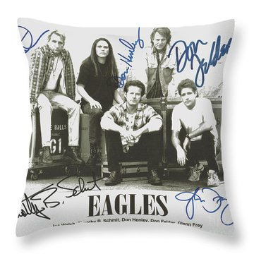 The Eagles Autographed Throw Pillow by Desiderata Gallery