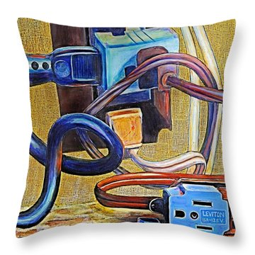 The Electronic Age Throw Pillow by JAXINE Cummins