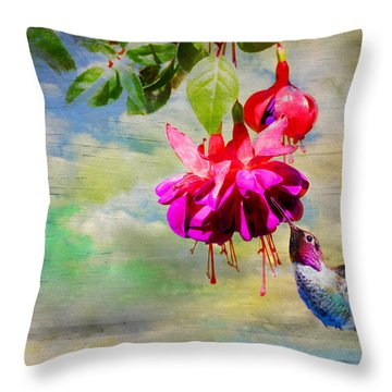 The Face Of Fuchsia Throw Pillow by Lynn Bauer
