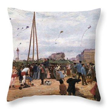 The Fairgrounds At Porte De Clignancourt Paris Throw Pillow by Victor Gabriel Gilbert