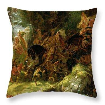 The Fairy Raid Throw Pillow by Sir Joseph Noel Paton