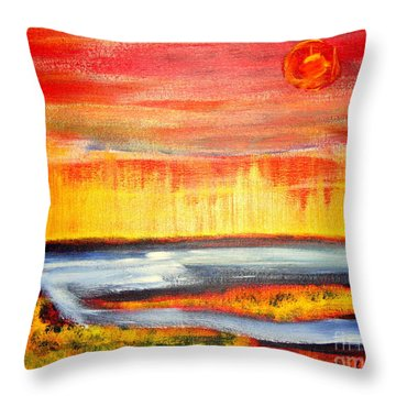 The First Handcart Is Faith Throw Pillow by Richard W Linford