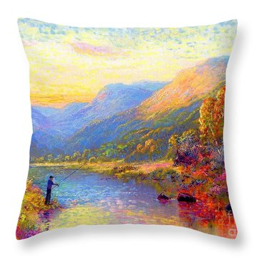 Fishing And Dreaming Throw Pillow by Jane Small