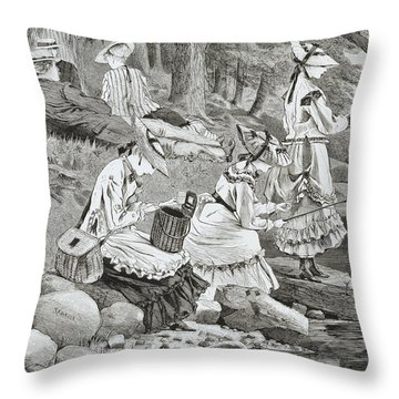 The Fishing Party Throw Pillow by Winslow Homer