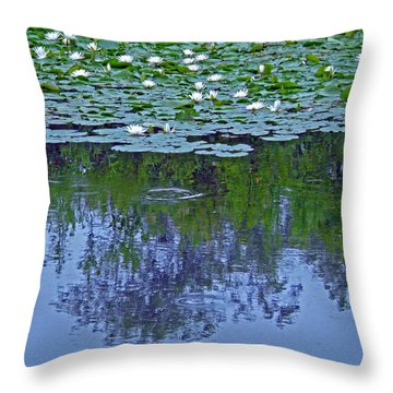 The Forest Beneath The Lilypads Throw Pillow by Jean Hall