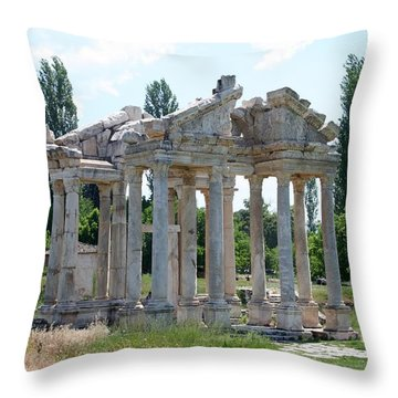 The Four Roman Columns Of The Ceremonial Gateway  Throw Pillow by Tracey Harrington-Simpson