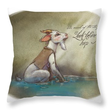 The Fox And The Goat Iv Throw Pillow by Ashraf Ghori