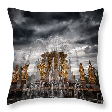 The Friendship Fountain Moscow Throw Pillow by Stelios Kleanthous