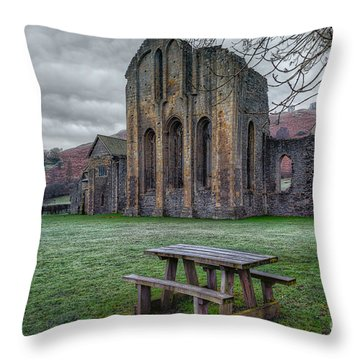 The Frosty Bench Throw Pillow by Adrian Evans