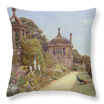 The Gardens At Montacute In Somerset Throw Pillow by Ernest Arthur Rowe