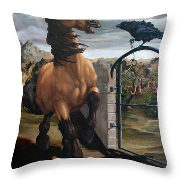 The Gatekeeper Throw Pillow by Lisa Phillips Owens
