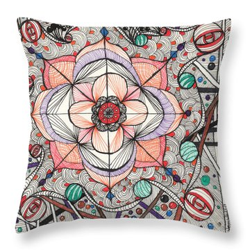 The Gathering Of Colors Throw Pillow by Anita Lewis