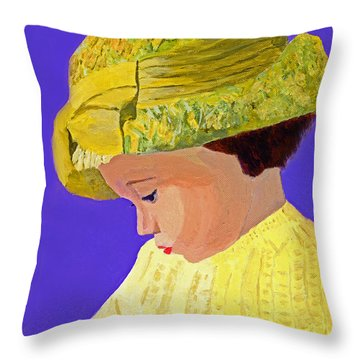 Throw Pillow featuring the painting The Girl With The Straw Hat by Rodney Campbell