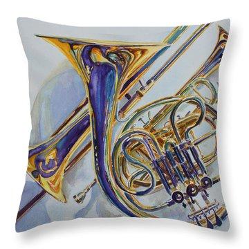 The Glow Of Brass Throw Pillow by Jenny Armitage