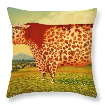 The Great Bull Throw Pillow by Frances Broomfield