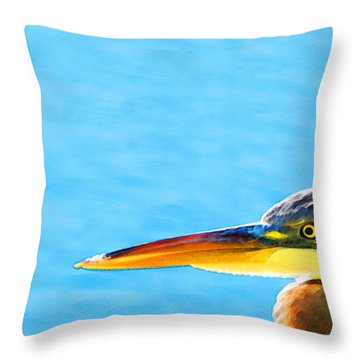 The Great One - Blue Heron By Sharon Cummings Throw Pillow by Sharon Cummings