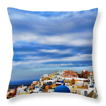 The Greek Isles-oia Throw Pillow by Tom Prendergast