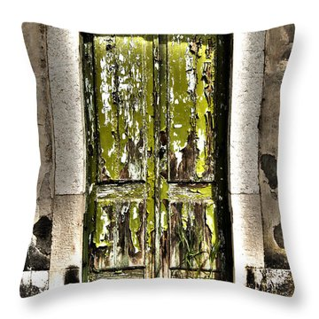 The Green Door Throw Pillow by Marco Oliveira