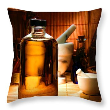 The Herbal Shop  Throw Pillow by Olivier Le Queinec