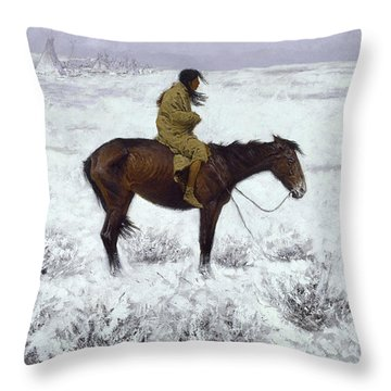The Herd Boy Throw Pillow by Fredrick Remington