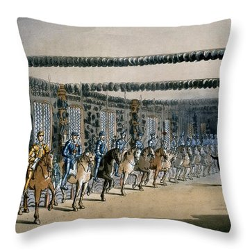 The Horse Armour Tower, Print Made Throw Pillow by T. & Pugin, A.C. Rowlandson