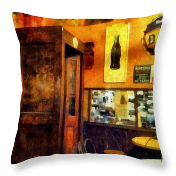 The Hot Dog Shop Throw Pillow by Michelle Calkins