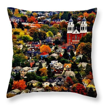 The Immaculate Conception Church Of Seattle Throw Pillow by Benjamin Yeager