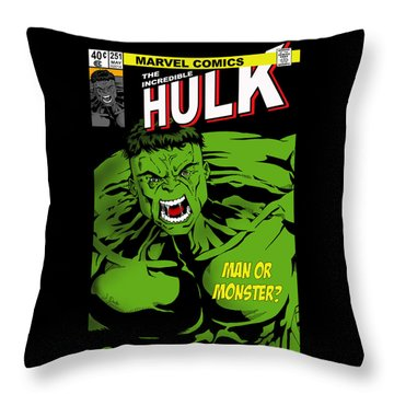 The Incredible Hulk Throw Pillow by Mark Rogan