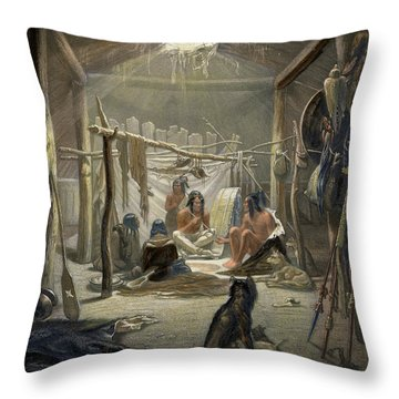 The Interior Of A Hut Of A Mandan Chief Throw Pillow by Karl Bodmer