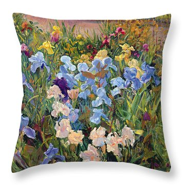 The Iris Bed Throw Pillow by Timothy Easton