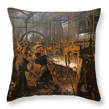 The Iron-rolling Mill Oil On Canvas, 1875 Throw Pillow by Adolph Friedrich Erdmann von Menzel
