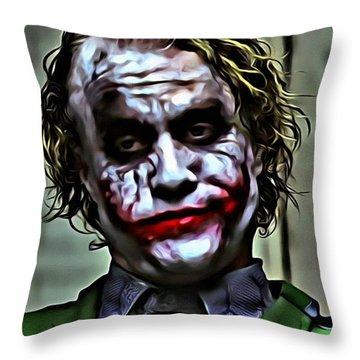 The Joker Throw Pillow by Florian Rodarte