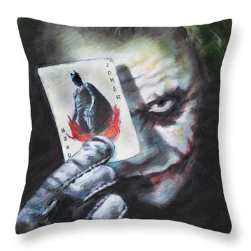 The Joker Heath Ledger  Throw Pillow by Viola El