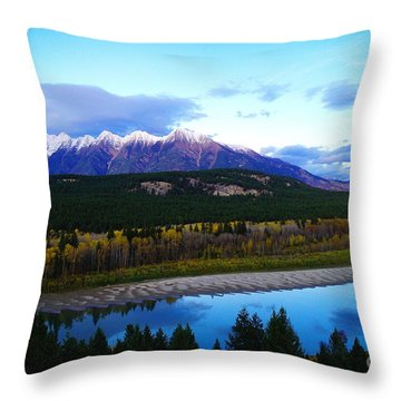 The Kootenenai River Surrounding The Canadian Rockies   Throw Pillow by Jeff Swan