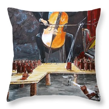 The Last Concert Listen With Music Of The Description Box Throw Pillow by Lazaro Hurtado