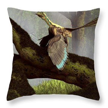 The Last Dinosaur Throw Pillow by Daniel Eskridge