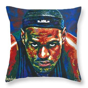 The Lebron Death Stare Throw Pillow by Maria Arango