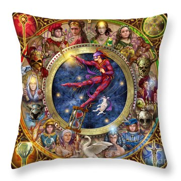 The Legacy Of The Devine Tarot Throw Pillow by Ciro Marchetti